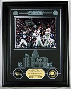 Highland Mint 12-NFLHOF-JUEGPK Johnny Unitas HOF Archival Etched Glass Photomint by Highland Mint