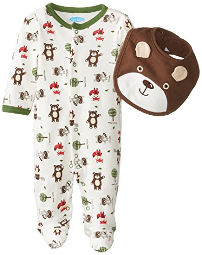 Bon Bebe Baby-Boys Newborn Forest Friends Snap Front Footed Coverall With Bib, Multi, 3-6 Months front-1077547