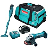 MAKITA DGA452Z 115mm 18V Cordless Angle Grinder Plus BCL180Z 18V Li-Ion Cordless Vacuum Cleaner Plus BL1830 18.0V 3.0Ah Lithium-ion Battery (638409-2) - Genuine Plus DC18RC 14.4-18V Lithium-ion Battery Charger 240V Plus 831278-2 Tool Bag for LXT400