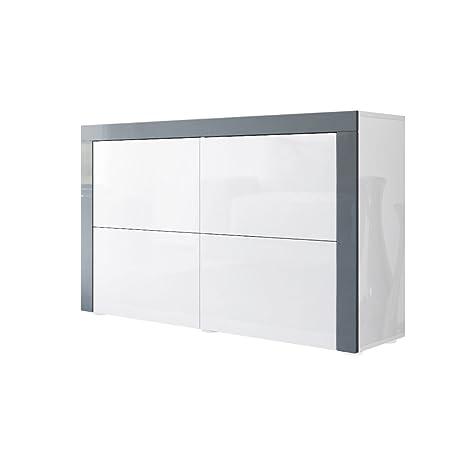 Kommode Sideboard La Paz V2 in Weiß Hochglanz / Weiß Hochglanz / Grau Hochglanz