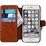 iPhone 6, 6s Wallet Case - Ultra Slim, Light Case for Apple iPhone 6, 6s (4.7) - Soft Vintage Brown Leather (PU) - Credit Card ID Holder - Extra Strong Magnet - Travel Wallet - Luxury Protection for Cases