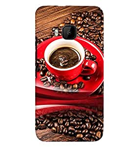 Fuson Premium Brewing Coffee Printed Hard Plastic Back Case Cover for HTC One M9