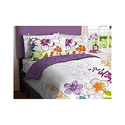 PurpleGreen Orange White Girls Multi Flower Twin Comforter Set 5 Piece Bed Bag
