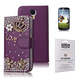 ArmyBee inc(TM) Samsung Galaxy S4 i9500 Bling Purple Crystal Love Crown Premium PU Leather Flip Wallet Case Cover Design for Girls With Card Holder / Accessory Slots (Fits: Samsung Galaxy S4 / i9500, Package includes: 1 X ArmyBee(TM) Screen Protector)