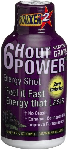 Stacker 6 Hour Power Energy Shot, Grape, 2-Ounce Bottles (Pack of 12)