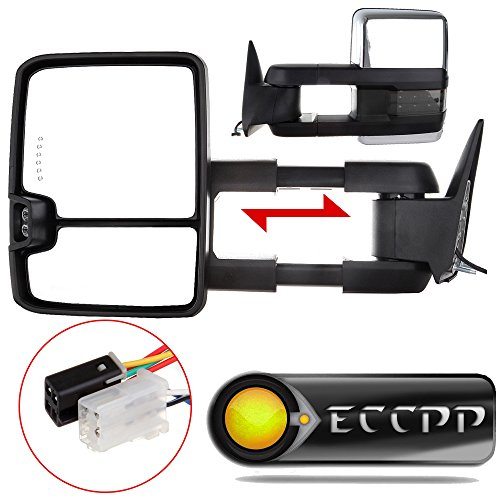 ECCPP® Pair Power Chrome Smoke Led Signals Towing Mirrors for 88-98 GMC 1500/2500/3500 (98 Chevy 1500 Tow Mirrors compare prices)