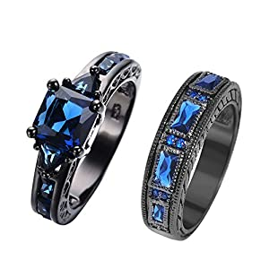 RongXing Jewelry New Sapphire Diamond Set Ring,14KT Black Gold Wedding Rings size7
