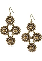 "Carolee ""Gold Pearl Basics"" Simulated Pearl Chandelier Earrings"
