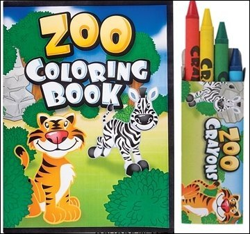 24 Pc Zoo Party Favors Lot -Includes (12) Zoo Animal Coloring Books , (12) Boxes Zoo Animal Crayons