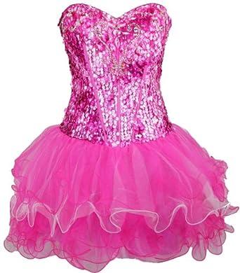 Meier Women's Strapless Corset Sequin Homecoming Short Prom Dress (XL)