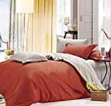 Dexim Exclusive Solid Poly Satin 4 Piece Bedding Set With Reversible Duvet Cover (Rust)