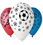"""Pack of 25 x 12"""" Assorted Colour Football Design Balloons"""