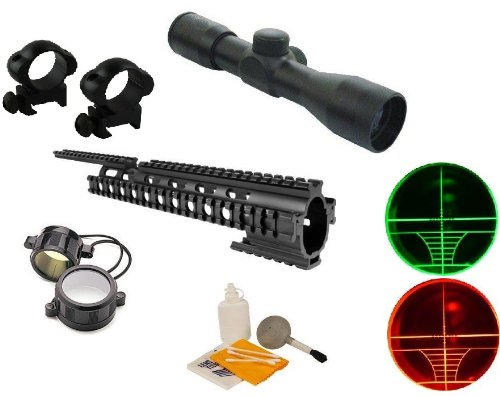 "Ultimate Arms Gear Black Finished Machined Aluminum Ruger 1022 10/22 10-22 Rifle 15"" Picatinny Accessory Mount System Forend + 4X30 Dual Red & Green Illuminated Rangefinder Range Finder Reticle Rifle Hunting Sniper Scope + See Thru Lens Caps, Lithium Batt front-36030"