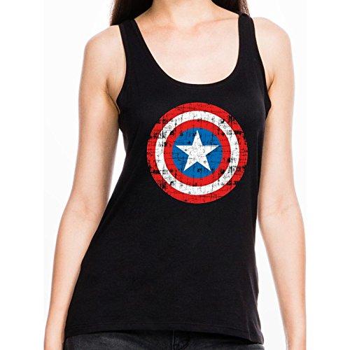 Captain America Shield Logo Top donna nero S