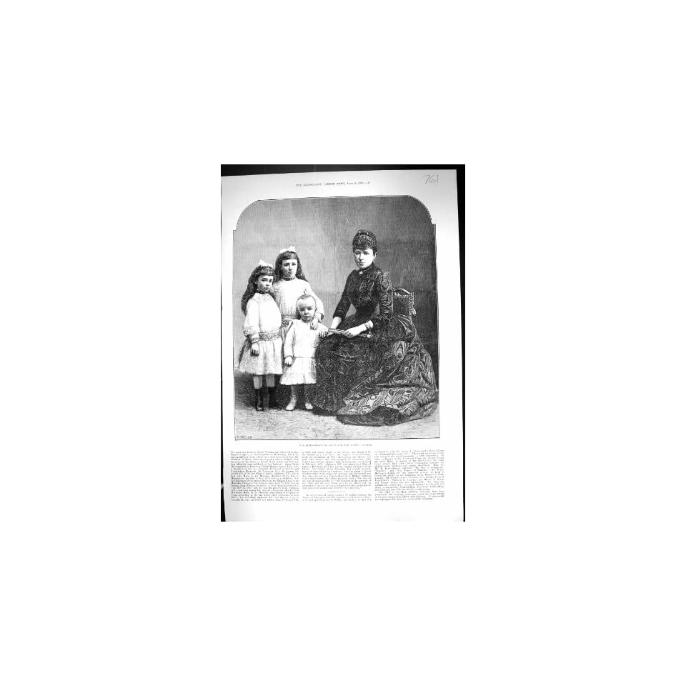 Antique Print of 1889 Portrait Queen regent Christina Spain Children