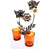 AusleseTM Hand Crafted Double Stand Metal Votive Candle Holder-11 Inch- Tealight, Candle Stand