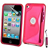 AOA CasesTM Apple Ipod Touch 4 4g 4th Generation S-Line Series Wave Hydro Gel Silicone Case Cover Skin Includes Screen Protector And Mini Stylus (iPod Touch 4 4th 4G, Hot Pink)