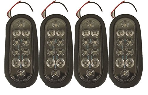 """4 Trailer Truck Led Sealed Clear / Red 6"""" Oval Stop Turn Tail Lights"""