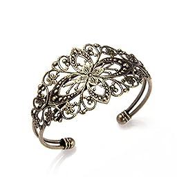 Skyus 10 pieces Antique Bronze Brass Flower Bangle Bracelet 35x65mm HOT