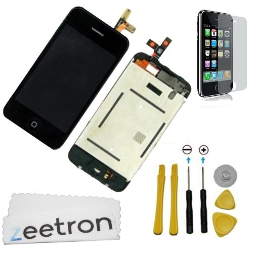 Zeetron© Iphone 3Gs Full Front Screen Assembly(Lcd Screen, Glass Digitizer, Frame, Home Button, Flex Cable, Proximity, Speaker + More) + Tools + Screen Protector + Microfiber Cloth (Do It Yourself Kit)