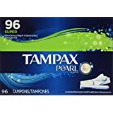 Tampax Pearl Unscented Super Absorbency Tampons, 96 Count