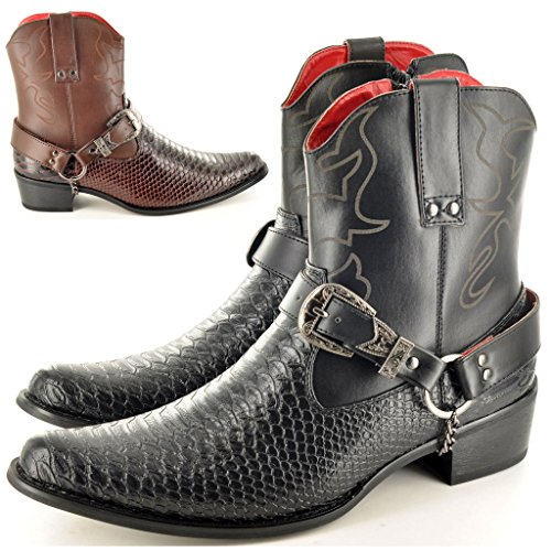 Mens Snake Skin Style Western Cowboy Ankle Boots At Mens