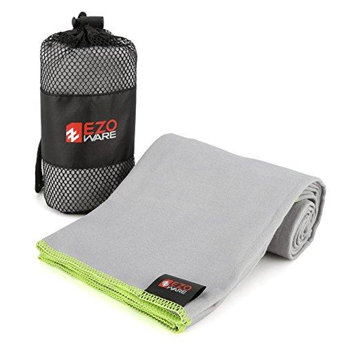EZOWare Asciugamano in Microfibra Super Absorbente con Custodia di Trasporto per Palestra, Piscina, Viaggio, Spiaggia, Bagno, Camping - Grigio/Verde, Piccolo