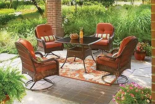 5-Piece-Patio-Dining-Set-Seats-4-deck-chairs-comfort-lounge-bbq-furniture-outside-weather-rain-party