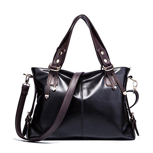 Realer Borse grandi in pelle di Crossbody Hobo con cerniera per le donne borse e borsette nero