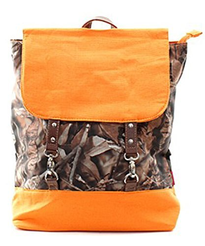 BNB Natural Camo Large Backpack With Hook Clasp And Orange Accents