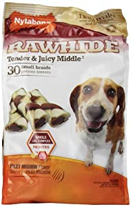 Nylabone Enhanced Rawhide Toro Braid Treats, Filet Mignon, Net Wt., 13.7 oz.., 30 Count