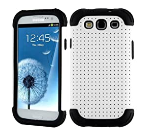 SOOPER White Mesh Defender Heavy Duty Protective Hard Full Body Cover Case for Samsung Galaxy i9300 S3 (White (Mesh case))