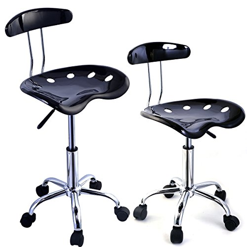 2PC Adjustable Bar Stools ABS Tractor Seat Swivel Chrome Kitchen Breakfast Black (Tractor Accesories compare prices)