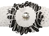 Zebra Rhinestone Daisy Flower Stretch Headband ~ White (1151)