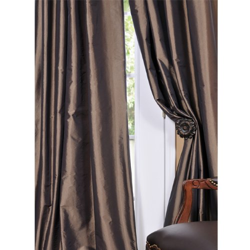 Peries Curtains Mushroom Faux Silk Taffeta Curtain Panel
