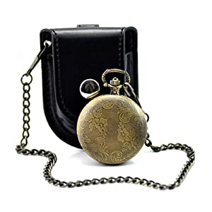 Absolute Antique Pendant Watches Necklace Carving Vintage Color Bronze - Pocket Watch