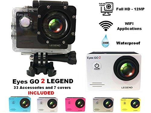 Eyes GO 2 LEGEND - 12MP - + 31 accessoires inclus dont 7 coques de couleur livrées - Marque française - FULL HD 1080p - Camera sport - Boîtier étanche 30 mètres - Écran LCD 1,5 pouces - WIFI - Applications ANDROID - APP STORE
