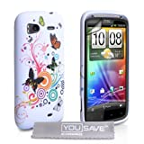 White / Multicoloured Butterfly Floral Pattern Silicone Gel Case Cover For The HTC Sensation / Sensation XE With Screen Protector Film And Grey Micro-Fibre Polishing Clothby Yousave Accessories