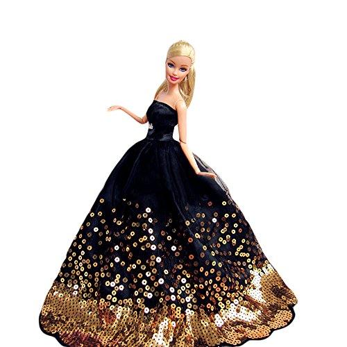 WayIn® Magnifique Robe de soirée à la main avec Paillettes pour la poupée Barbie Noir