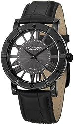 Stuhrling Original Winchester Mens Black Watch - Swiss Quartz Analog Date Wrist Watch for Men - Black IP Stainless Steel Mens Designer Watch with Black Genuine Leather Strap 881.03