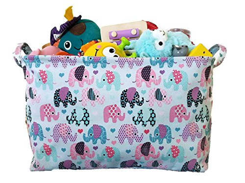 Canvas Toy Organizer Bins and Storage with Elephant Designs for Kids Toy Basket and Toy Organizers, Baby Toys, Books and Clothing for Nursery and Baby Hamper, (Baby Storage Bins compare prices)