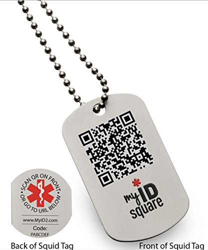 Into the black squid medical alert id dog tag using qr for Qr code dog tag