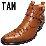 「DECT」ウエスタンブーツ ショートブーツ サイドゴア メンズブーツ リングブーツ 110-255-TAN