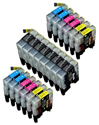 Pack of 20 Compatible Brother LC-61 , LC-65 , LC61 , LC65 8 Black, 4 Cyan, 4 Magenta, 4 Yellow for use with Brother MFC-J410, DCP-145C, DCP-165C, DCP-195C, DCP-375-CW, DCP-385C, DCP-395-CN, DCP-585-CW, DCP-6690-CW, DCP-J125, DCP-J315-W, DCP-J515-W, DCP-J715-W, MFC-250C, MFC-255-CW, MFC-290C, MFC-295-CN, MFC-490-CW, MFC-495-CW, MFC-5490-CN, MFC-5890-CN, MFC-5890-CN, MFC-5895-CW, MFC-6490-CW, MFC-6890CD-W, MFC-790-CW, MFC-795-CW, MFC-990-CW, MFC-J220, MFC-J265-W, MFC-J270-W, MFC-J410, MFC-J410-W, MFC-J415-W, MFC-J615-W, MFC-J630-W. Ink Cartridges for inkjet printers. LC 61 BK , LC 61BK , LC 61C , LC 61Y , LC-61 BK , LC-61BK , LC-61C , LC-61Y , LC61 BK , LC61 C , LC61BK , LC61C , LC61M , LC61Y , LC65BK , LC65C