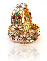 BeYou Gold Plated Polki Style Red Green Stones Bangles Set - B00NXVEY1E