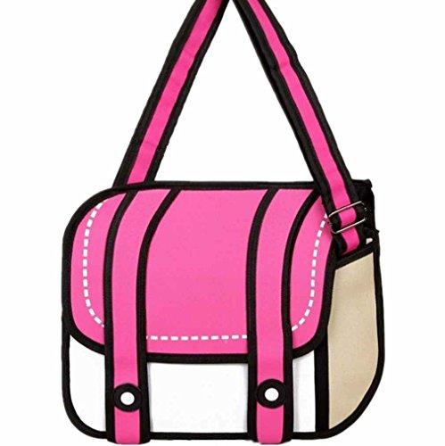 3D Style 2D Drawing Cartoon Camera Bag Handbag Shoulder Messenger Bag Rose Red