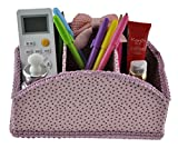 T-Queen Creative Paper and Cloth Art Bowknot Arc-shaped Box Holder with 3 Compartments Holder for Pen Pencil Remote Control Phone and More for Home Office Desk (Pink)
