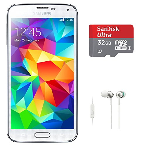 Samsung Galaxy S5 SM-G900H Exyon Quad Core 1.9GHz processor, 16GB, Factory Unlocked International Version WHITE with 32GB microSDHC Card and In-Ear Headphones