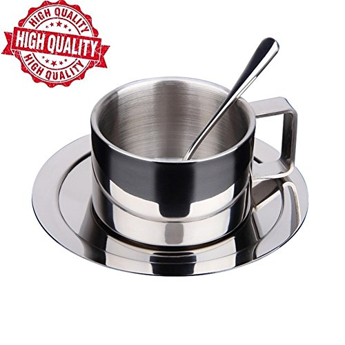 UMIKAkitchen Espresso Cups [ Lifetime Warranty] 304 Stainless Steel Coffee Cup with Spoon and Saucer Set, Great Idea for Coffee and Tea Lovers (Cappuccino Cups Set compare prices)