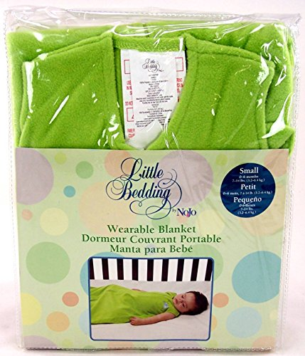 Nojo Little Bedding- Small Size Wearable Blanket for 0 to 6 Months- 7-14 Lbs- Green